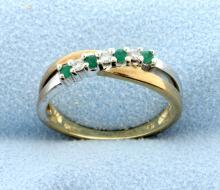 Diamond & Emerald Rose & White Gold Ring