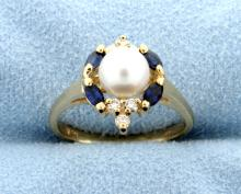 Pearl, Diamond & Sapphire 14k Yellow Gold Ring