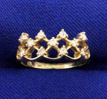 Tiara Diamond Ring in 10k Yellow Gold