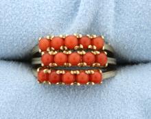 3 Vintage Coral Stack 10k Rings