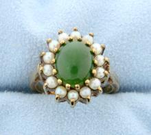 Vintage Jade & Pearls 10k Gold Ring