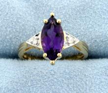 Amethyst Marquise & Diamond 10k Ring