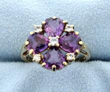 Amethyst & 5 Diamond 10k Yellow Gold Ring