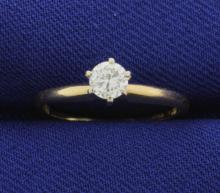 1/4 Carat Diamond Brilliant Solitaire Ring in 14k Yellow Gold