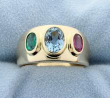 Aquamarine, Emerald & Ruby 4.5 carat 14K Ring