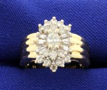 1 Carat Ladies Diamond Cluster ring in 14k Yellow Gold