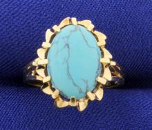 Vintage Turquoise 14k Yellow Gold Ring