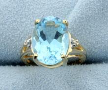 Sky Blue 5 Carat Topaz & Diamond 14k Ring