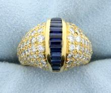Sapphire & 3 Carats of Brilliant Cut Diamonds in 18k Gold Ring
