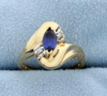 Sapphire & Diamond 10k Yellow Gold Ring