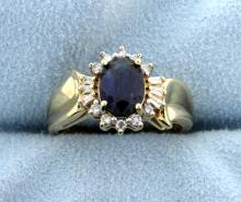 Sapphire & Diamond 10k Yellow Gold Diamond Ring