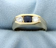 Diamond & Gem Sapphire Contemporary Style 14k Yellow Gold Ring
