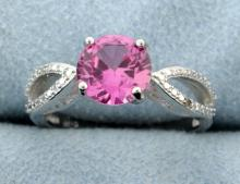 Lab Pink Sapphire and diamond ring