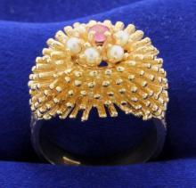 Vintage Ruby & Seed Pearl Ring