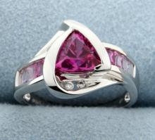 Diamond & lab created Pink Sapphire ring