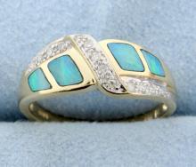 Diamond & inlay Opal ring