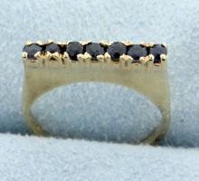 Straight line ring with Sapphires