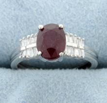 2 carat Ruby and diamond ring