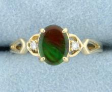 Amolite Doublet & Diamond Ring