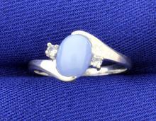 Star Sapphire & white Sapphire Ring