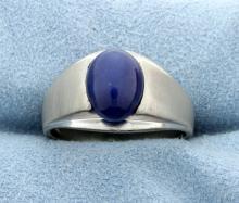 Blue Star Sapphire Set in 14k White Gold