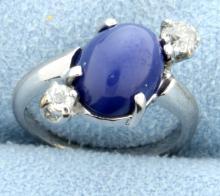 Vintage Mine Cut Diamond and Star Sapphire 14K White Gold Ring