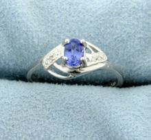 1/2 ct Tanzanite and Diamond Sterling Silver Ring