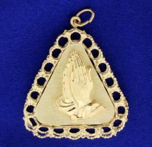 Praying Hands in 14k Medal