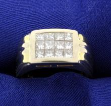 18K Men's Invisible-Set 1.8ct TW Diamond Ring