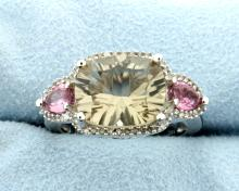 Green & Pink Topaz Ring