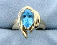 Swiss Blue Topaz & Diamond 14k Ring.