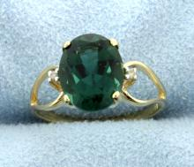 Green Quartz & Diamond 10k Ring