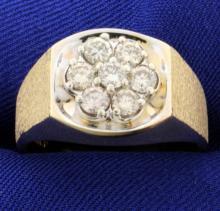 1ct Total Weight Men's Diamond Ring