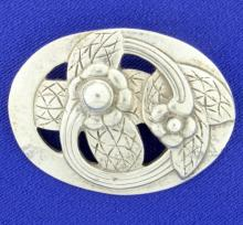 Large Sterling Silver Flower Pin