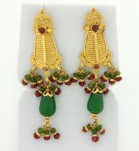 Jade & Ruby 22k gold dangle earrings
