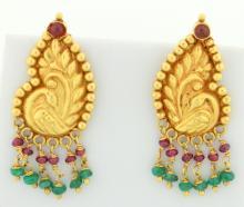 Ruby & Emerald dangle earrings