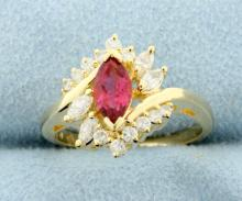 Ruby & Diamond 14k Yellow gold Ring