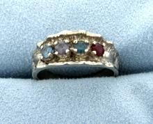 Aquamarine, Sapphire, Blue Topaz, & Ruby Ring