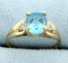 2.5ct Blue Topaz & Diamond Ring