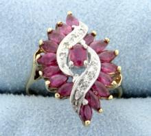 Rubellite Tourmaline & Diamond Ring