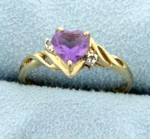 Heart Amethyst & Diamond Ring