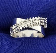 Criss Cross Ring in 14K White Gold