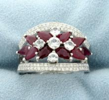 18k Ruby, Diamond, and White Sapphire Fashion Ring