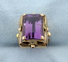 Vintage Amethyst 18K Ring in Rose and Yellow Gold