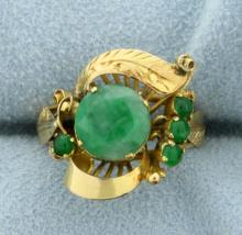 Vintage Jade and Emerald 18K Ring