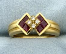 Ruby & Diamond Deco Style Ring