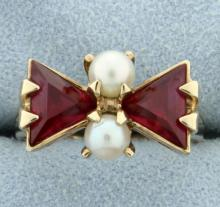 Lab Ruby & Pearl Ring