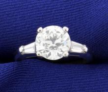 GIA Certified 2 1/2 ct TW Vintage Diamond Ring in Platinum