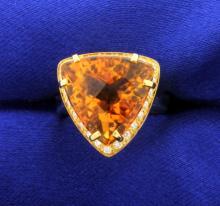 Trillion Cut Citrine & Diamond 18K gold Ring
