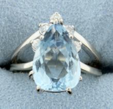 Pear Shaped Blue Topaz & Diamond Ring in White Gold